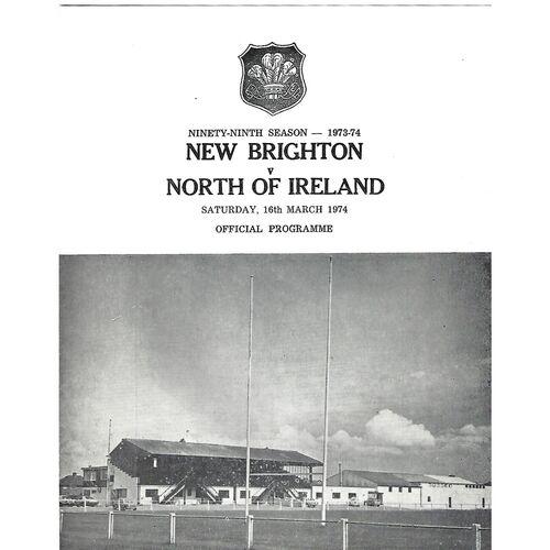1973/74 New Brighton v North of Ireland (16/03/1974) Rugby Union Programme