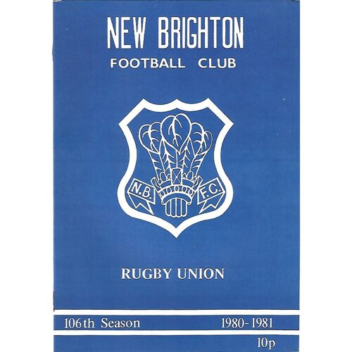 1980/81 New Brighton v Rugby (01/11/1980) Rugby Union Programme