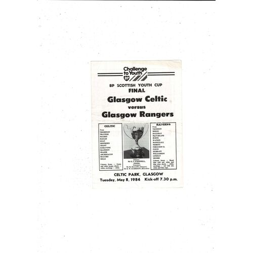 1984 Celtic v Rangers Scottish Youth Cup Final Football Programme