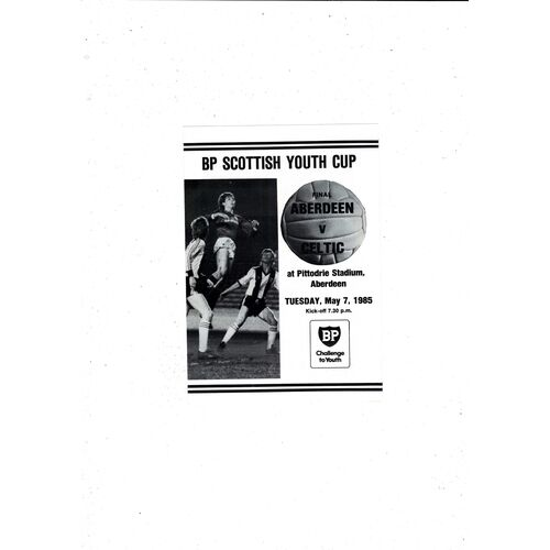 1985 Aberdeen v Celtic Scottish Youth Cup Final Football Programme