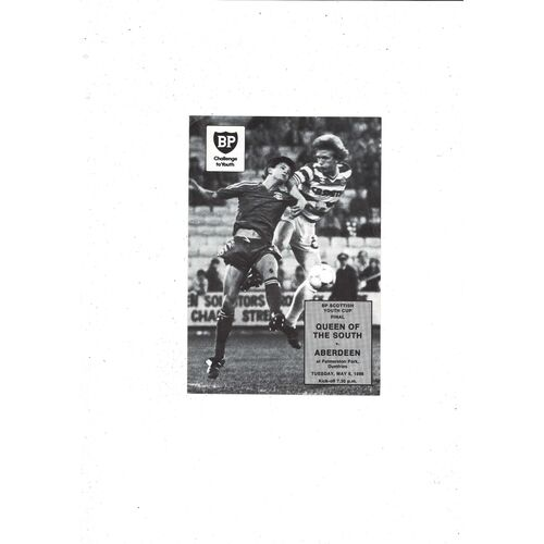 1986 Queen of the South v Aberdeen Scottish Youth Cup Final Football Programme