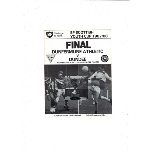 1988 Dunfermline Athletic v Dundee Scottish Youth Cup Final Football Programme