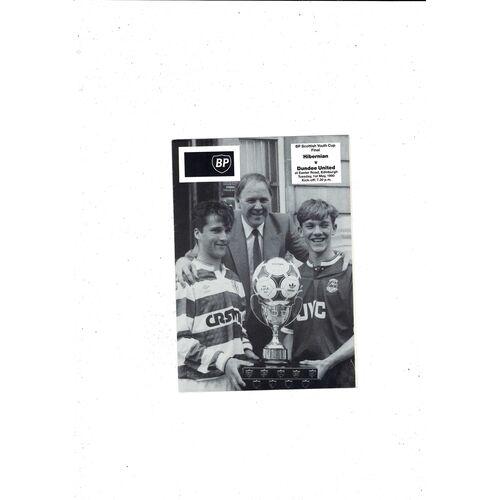 1990 Hibernian v Dundee United Scottish Youth Cup Final Football Programme+ insert