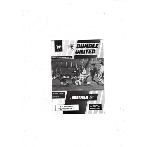 1991 Dundee United v Hibernian Scottish Youth Cup Final Football Programme
