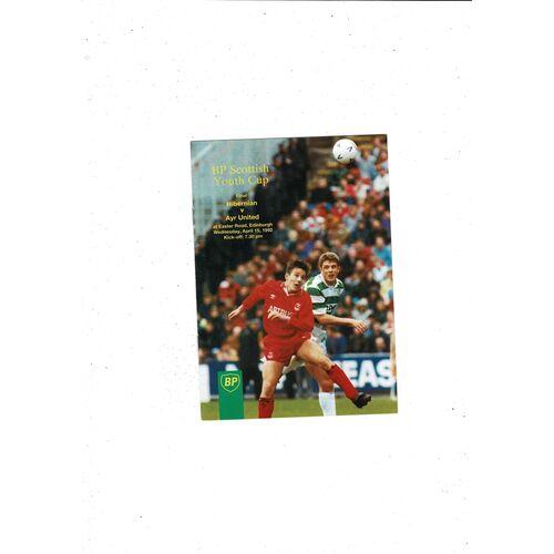 1992 Hibernian v Ayr United Scottish Youth Cup Final Football Programme