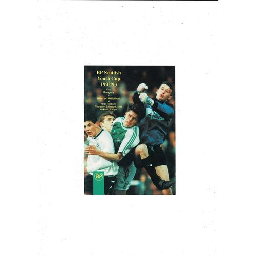 1993 Rangers v Hearts Scottish Youth Cup Final Football Programme