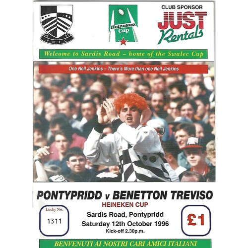 1996/97 Pontypridd v Benetton Treviso Heineken Cup Group Match (12/10/1996) Rugby Union Programme