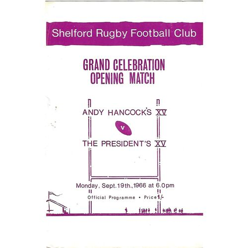 1966/67 Shelford Rugby Football Club Grand Celebration Opening Match, Andy Hancock's XV v The President's XV (19/09/1966) Rugby Union Programme