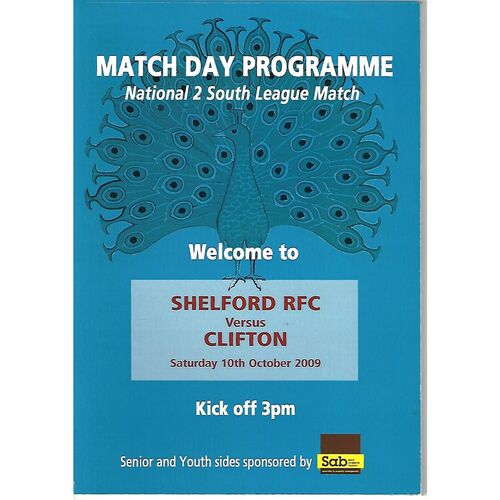 2009/10 Shelford v Clifton (10/10/2009) Rugby Union Programme
