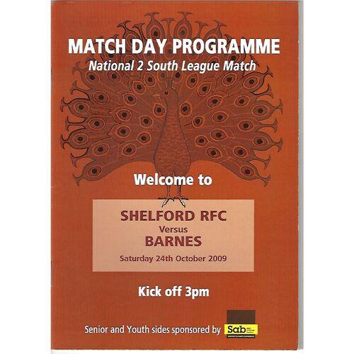 2009/10 Shelford v Barnes (24/10/2009) Rugby Union Programme