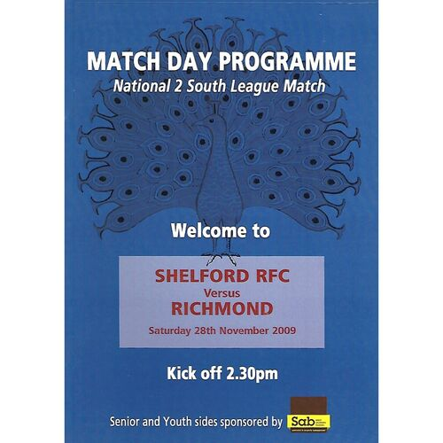 2009/10 Shelford v Richmond (28/11/2009) Rugby Union Programme