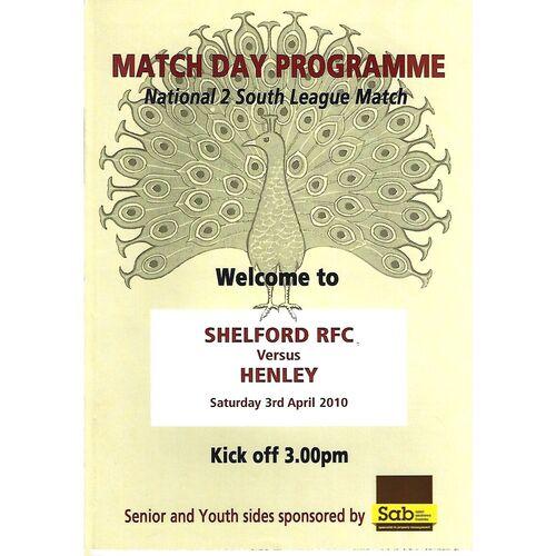 2009/10 Shelford v Henley (03/04/2010) Rugby Union Programme