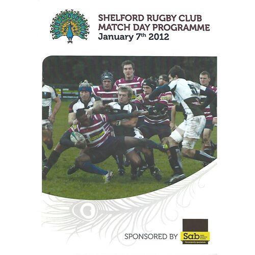 2011/12 Shelford v Worthing (07/01/2012)  Rugby Union Programme
