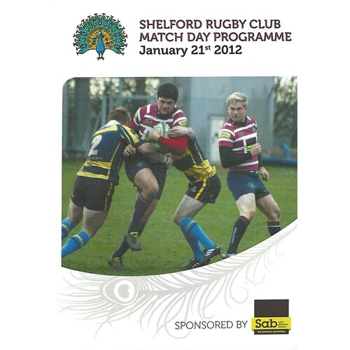 2011/12 Shelford v Dings Crusaders (21/01/2012) Rugby Union Programme