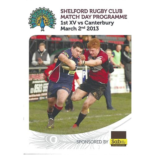 2012/13 Shelford v Canterbury (02/03/2013) Rugby Union Programme
