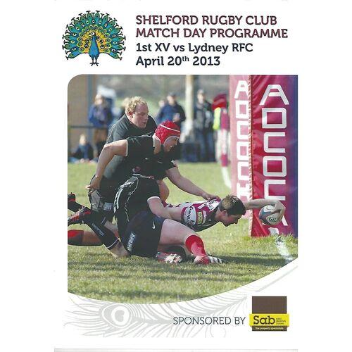 2012/13 Shelford v Lydney (20/04/2013) Rugby Union Programme