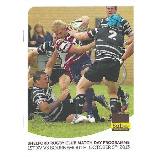 2013/14 Shelford v Bournemouth (05/10/2013) Rugby Union Programme