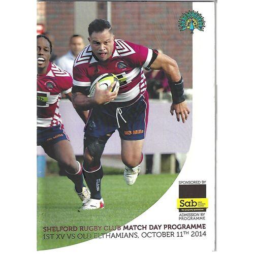 2014/15 Shelford v Old Elthamians (11/10/2014) Rugby Union Programme