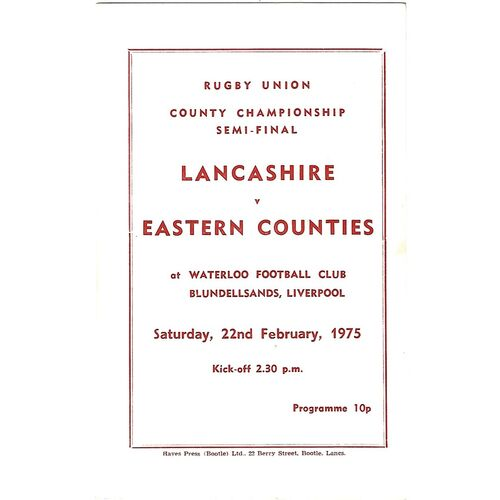County Championship Semi Final Rugby Union Programmes