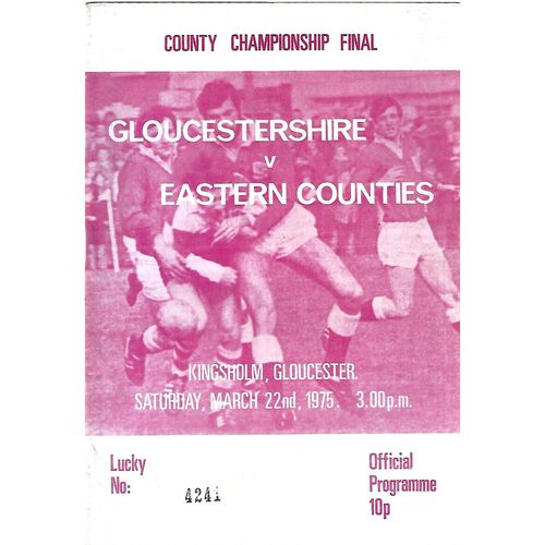1975 Gloucestershire v Eastern Counties Rugby Union County Championship Final (22/03/1975) Rugby Union Programme