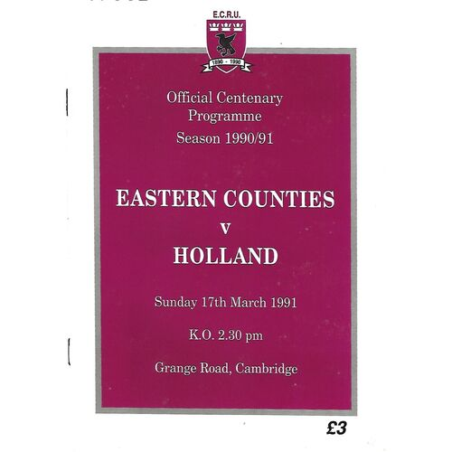 1990/91 Eastern Counties v Holland (17/03/1991) Tour Match Rugby Union Programme