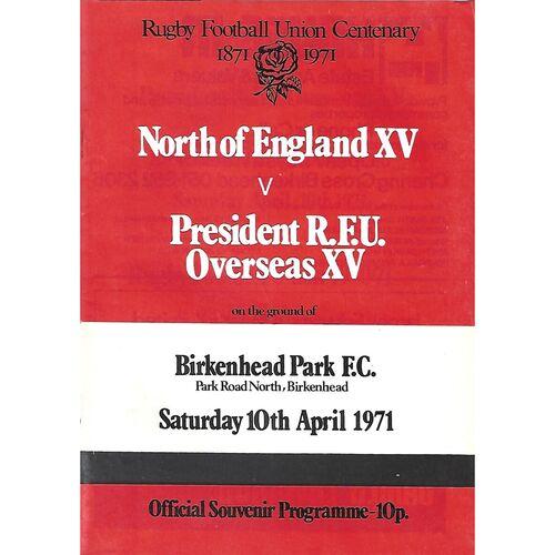 1970/71 North of England XV v President R.F.U Overseas XV Rugby Union Programme