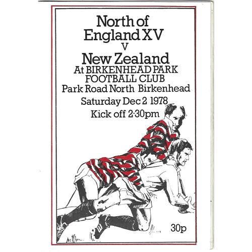 1978/79 North of England XV v New Zealand (02/12/1978) Rugby Union Programme