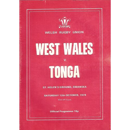 1974/75 West Wales v Tonga (12/10/1974) Tour Match Rugby Union Programme