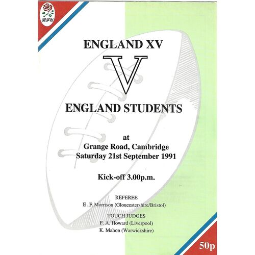1991 England XV v England Students (21/09/1991) Rugby Union Programme