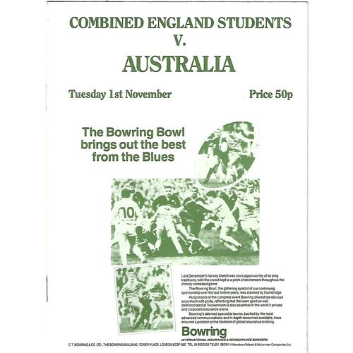 1988 Combined England Students v Australia (01/11/1988) Rugby Union Programme