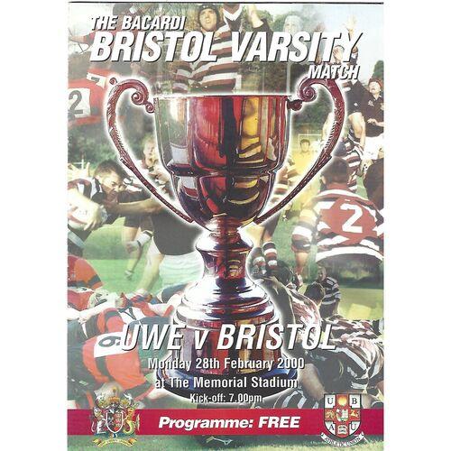 2000 UWE v Bristol The Barcardi Bristol Varsity Match (28/02/2000) Rugby Union Programme