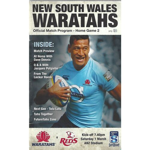 2014 New South Wales Waratahs v Queensland Reds (01/03/2014) Rugby Union Programme