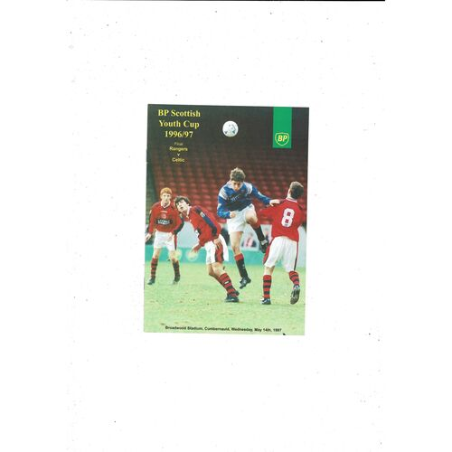 1997 Rangers v Celtic Scottish Youth Cup Final Football Programme
