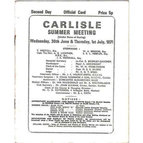 Carlisle Horse Racing Racecards/Programmes