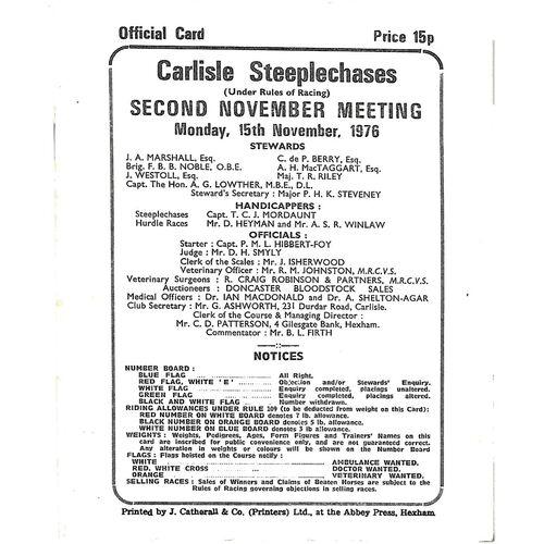 1976 Carlisle Horse Racing Racecard (15/11/1976) Second November Meeting