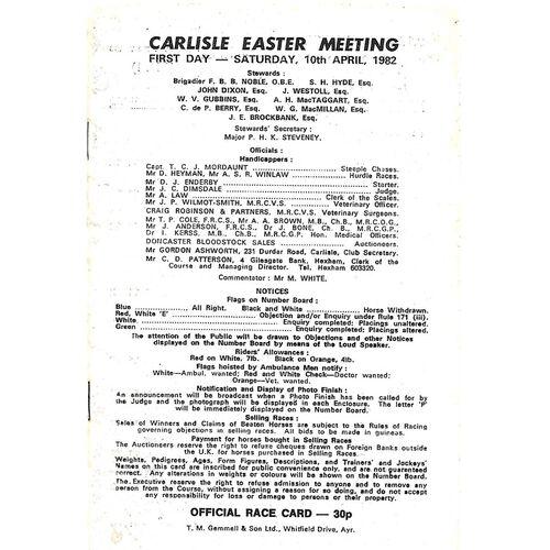 1982 Carlisle Horse Racing Racecard (10/04/1982) Easter Meeting First Day