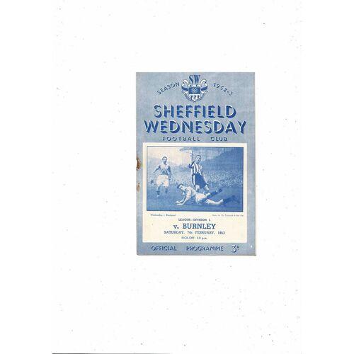 1952/53 Sheffield Wednesday v Burnley Football Programme