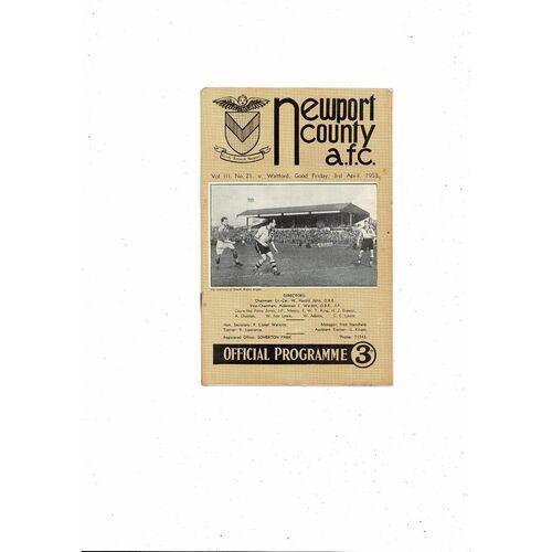 1952/53 Newport County v Watford Football Programme