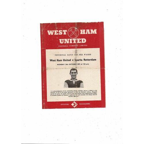 1957/58 West Ham United v Sparta Rotterdam Walker Testimonial Football Programme