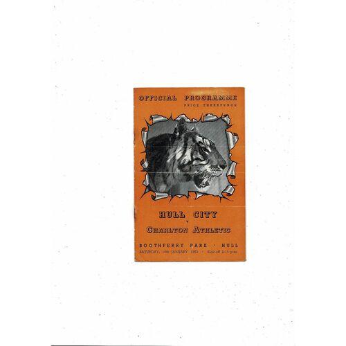 1952/53 Hull City v Charlton Athletic FA Cup Football Programme