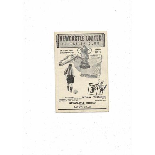 1951/52 Newcastle United v Aston Villa Football Programme