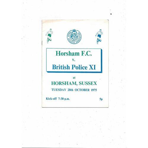 Horsham FC v British Police X1 Football Programme 1975