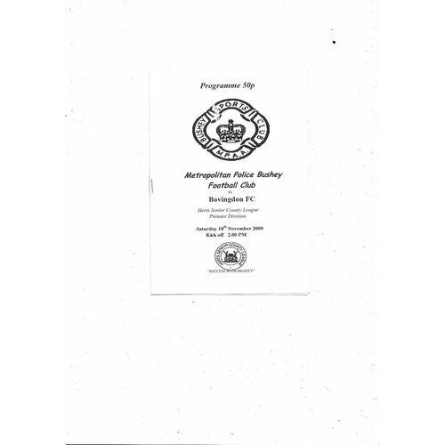 Metropolitan Police Bushey v Bovingdon FC Football Programme 2000