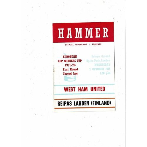 West Ham United v Lahden European Cup Winners Cup Football Programme 1975/76