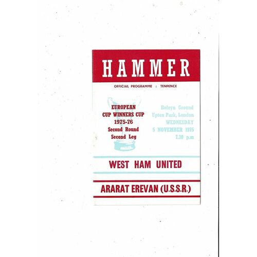 1975/76 West Ham United v Ararat European Cup Winners Cup Football Programme