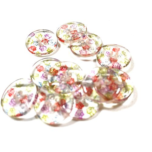 Clear Flower Buttons 15mm