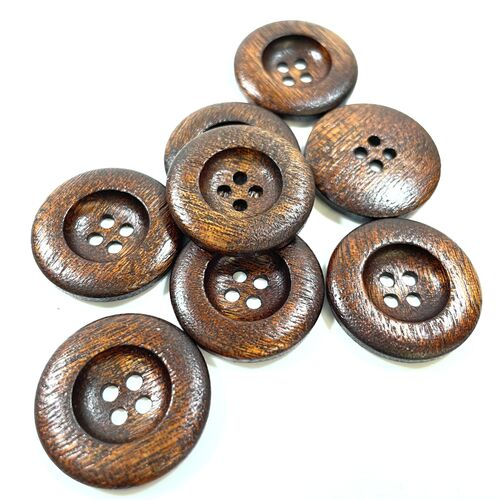 Dark Wood Four Hole Buttons 25mm
