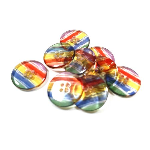 Clear Rainbow Buttons 15mm