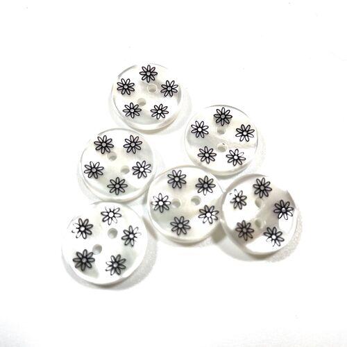 Black Flower Buttons 15mm