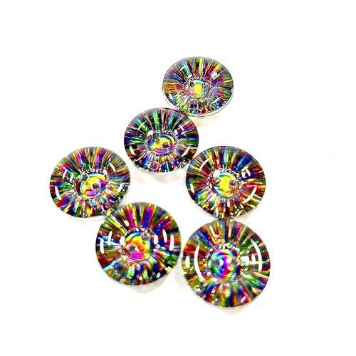 Glass Multi Coloured Button 15mm